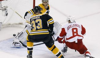 Boston Bruins' Tuukka Rask, behind, blocks a shot by Detroit Red Wings' Justin Abdelkader (8) as the Bruins Zdeno Chara (33) defends during the third period in Game 5 in the first round of the NHL hockey Stanley Cup playoffs in Boston, Saturday, April 26, 2014. Boston won 4-2 and eliminated the Red Wings from the playoffs. (AP Photo/Michael Dwyer)
