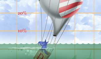 Illustration on Obama's falling approval ratings by Alexander Hunter/The Washington Times