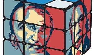 Illustration on Putin's dominance in world affairs by Linas Garsys/The Washington Times