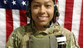 """FILE - This undated file photo shows U.S. Army 1st Lt. Jennifer M. Moreno.  Moreno is one of only 11 women from Lewis-McChord to die in the wars in Iraq and Afghanistan, and one of only two women from the local base who were commissioned officers when they were killed. Moreno died with Sgt. Patrick Hawkins and Spc. Cody Patterson of the Georgia-based 3rd Battalion, 75th Ranger Regiment and special agent Joseph M. Peters of a military police unit based in Italy. The Army says their sacrifices stymied an attack """"that would have resulted in the deaths of unknown multitudes of innocent civilians."""" At least two insurgents died in the compound; two of them were wearing suicide vests.  (AP Photo/US Department of Defense"""