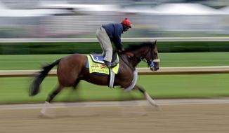 In this image taken with a slow shutter speed, exercise rider Kelvin Pahal takes Kentucky Derby hopeful Wicked Strong for a morning workout at Churchill Downs Tuesday, April 29, 2014, in Louisville, Ky. (AP Photo/Morry Gash)