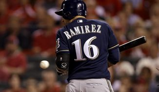 Milwaukee Brewers' Aramis Ramirez is hit by a pitch with the bases loaded during the seventh inning of a baseball game against the St. Louis Cardinals Monday, April 28, 2014, in St. Louis. (AP Photo/Jeff Roberson)