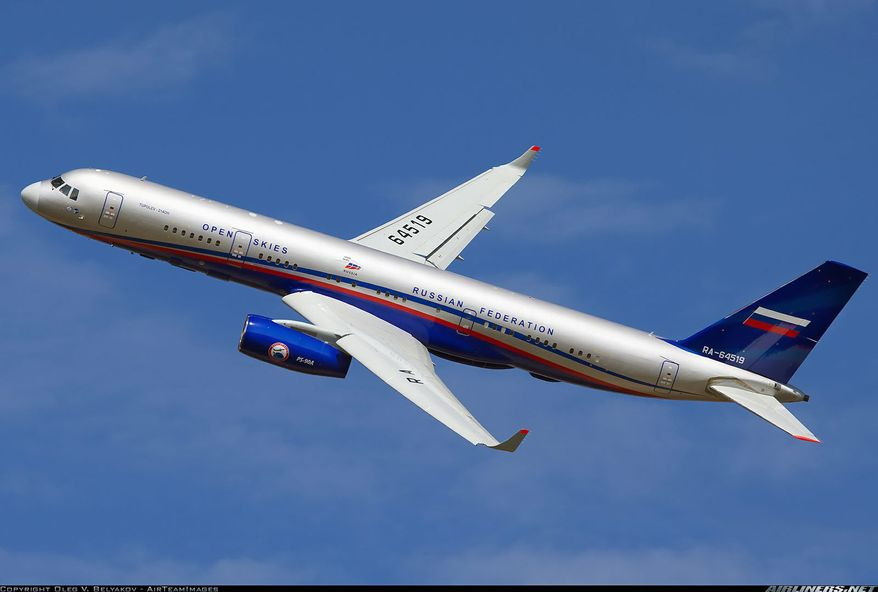 The new Russian aircraft in question is the Tu-214ON, which will be outfitted with digital imagery equipment, sideways-looking synthetic aperture radar and infrared gear. (Oleg V. Belyakov)