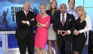 """CORRECTS THAT LARA SPENCER IS GOOD MORNING AMERICA CO-HOST AND NOT A SHARK TANK MOGUL - In this undated photo provided by ABC, Good Morning America co-host Lara Spencer, third left, poses with """"Shark Tank"""" moguls, from left, Kevin O'Leary, Barbara Corcoran, Daymond John, Mark Cuban and Lori Greiner. The show, now in its fifth season, airs Fridays at 9 p.m. EDT. (AP Photo/ABC, Lorenzo Bevilaqua)"""