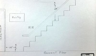 In this photo of a drawing released by Morrison County Attorney's Office, the basement stairs of Minnesota home of Byron Smith where Smith shot and killed two teenagers during a break-in is seen. Smith was convicted Tuesday, April 29, 2014, of premeditated murder. A day after Byron Smith was found guilty of premeditated murder, jurors said the audio of the Thanksgiving Day 2012 killings of two unarmed teens _ a recording that the 65-year-old switched on before the break-in occurred _ was key in his conviction. (AP Photo/Morrison County Attorney's Office via The Star-Tribune)