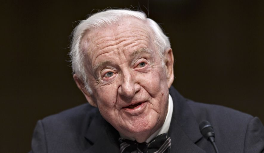 Retired Supreme Court Justice John Paul Stevens testifies on the ever-increasing amount of money spent on elections as he appears before the Senate Rules Committee on Capitol Hill in Washington, Wednesday, April 30, 2014. (AP Photo) ** FILE **