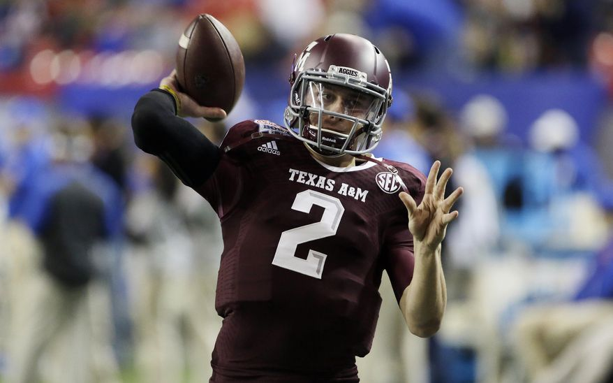 ADVANCE FOR WEEKEND EDITIONS, MAY 3-4 - FILE - In this Dec. 31, 2013, file photo, Texas A&M quarterback Johnny Manziel (2) warms up before the start of the Chick-fil-A Bowl NCAA college football game against Duke in Atlanta. Manziel is a 2012 Heisman Trophy winner was one of most exciting and productive players in college football history. He is a top prospect in the upcoming NFL draft. (AP Photo/John Bazemore, File)