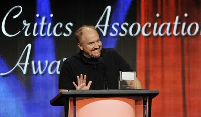 """FILE - Louis C.K. picks up the award for Individual Achievement in Comedy for his television series """"Louis"""" at the 2013 TCA Awards at the Beverly Hilton Hotel on in this Aug. 3, 2013 file photo taken in Beverly Hills, Calif. Louie, who (like Louis) is a New York comic and a divorced father of two daughters, knows struggle and angst and cloudy wonderment. The fourth season kicks off Monday May 5, 2014. (Photo by Chris Pizzello/Invision/AP)"""