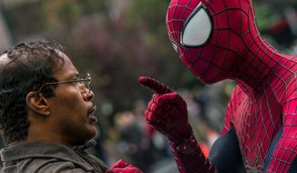 "Max Dillon, an electrical engineer played by Jamie Foxx, squares off against Spider-Man, played by Andrew Garfield, in ""The Amazing Spider-Man 2."" (Sony Pictures Via Associated Press)"