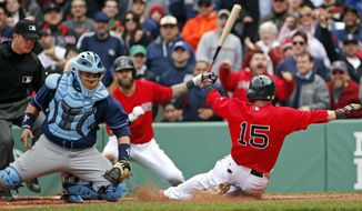 Tampa Bay Rays catcher Jose Molina moves to tag out Boston Red Sox's Dustin Pedroia (15), trying to score on a double by designated hitter David Ortiz, during the seventh inning in the first baseball game of a doubleheader at Fenway Park in Boston, Thursday, May 1, 2014. Boston Red Sox's Mike Napoli watches from on-deck (middle). (AP Photo/Elise Amendola)