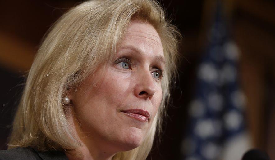 Sen. Kirsten Gillibrand, New York Democrat, speaks on Capitol Hill in Washington on March 6, 2014. (Associated Press) **FILE**