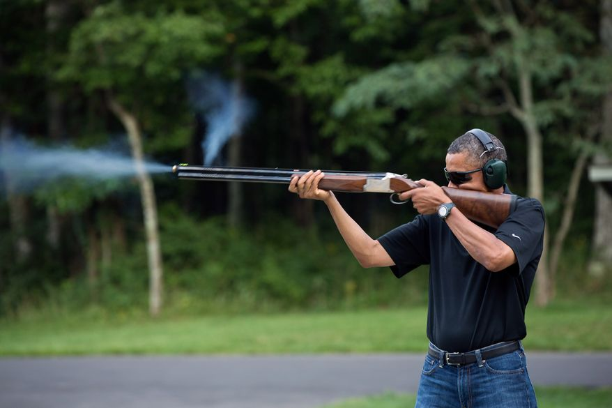 President Barack Obama shoots clay targets on the range at Camp David, Md., Saturday, Aug. 4, 2012. (Official White House Photo by Pete Souza)This official White House photograph is being made available only for publication by news organizations and/or for personal use printing by the subject(s) of the photograph. The photograph may not be manipulated in any way and may not be used in commercial or political materials, advertisements, emails, products, promotions that in any way suggests approval or endorsement of the President, the First Family, or the White House.