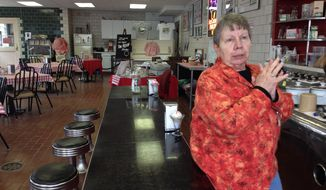 ADVANCED FOR RELEASE MONDAY, MAY 5, 2014 Eaton Rapids Historical Society member Nancy Smith oversees the property's Miller Ice Cream Parlor in Eaton Rapids, Mich. The parlor, open three days a week, offers MSU Dairy Store ice cream and specialties like brownie sundaes and malts in a historic setting. (AP Photo/Lansing State Journal, Rachel Greco)