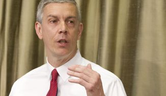 """FILE - This April 10, 2014 file photo shows Education Secretary Arne Duncan speaking in New York. Fifty-five colleges and universities _ big and small, public and private _ are being investigated over their handling of sexual abuse complaints, the Education Department revealed Thursday. Duncan said there had been """"lots of internal debate"""" about whether to release the list but that he believes in transparency; he said the more the country is talking about the problem of sexual assault, the better. Duncan said there is """"absolutely zero presumption"""" of guilt in his mind for schools being investigated.  (AP Photo/Michael Sisak, File)"""