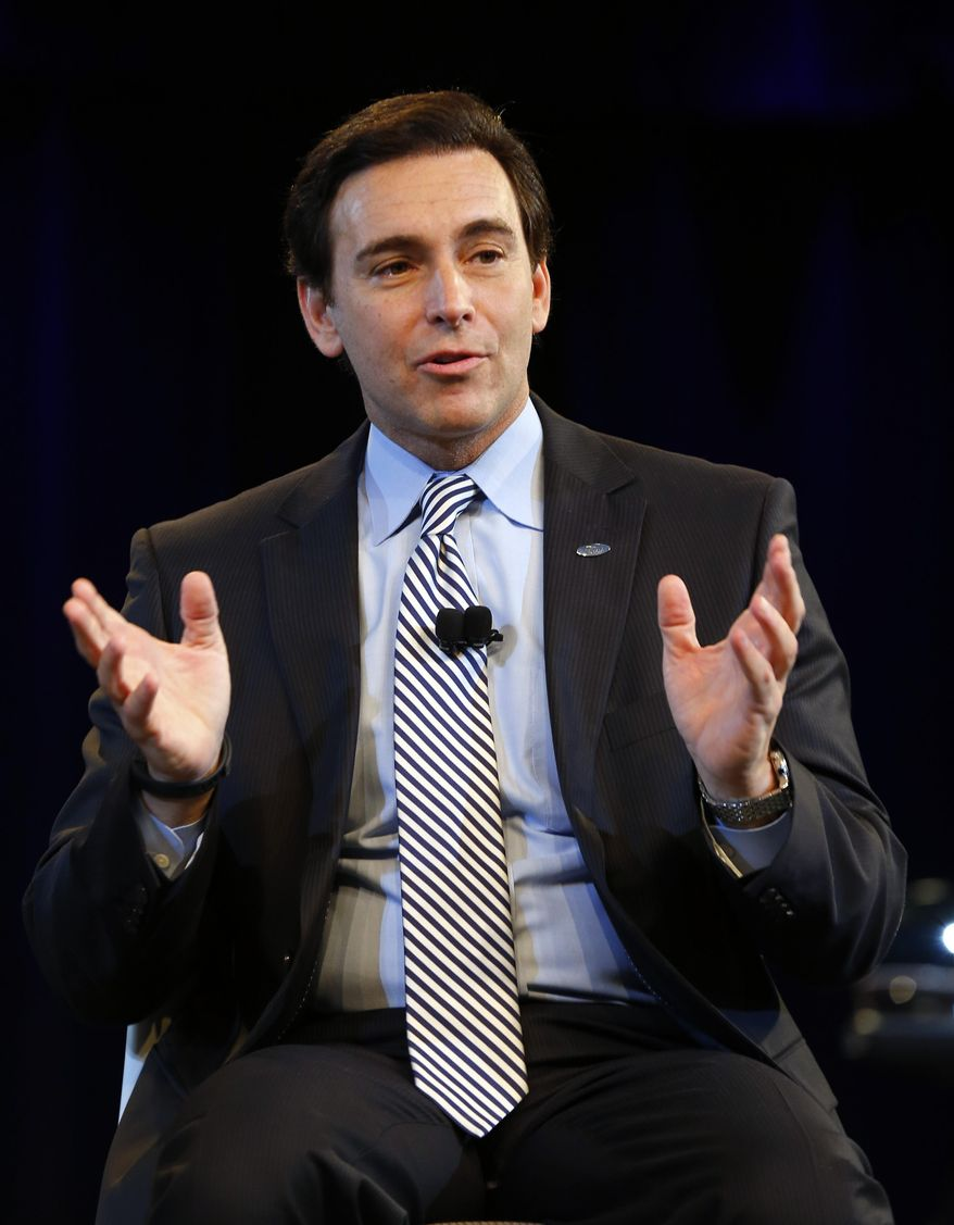 Ford Motor Company Chief Operating Officer Mark Fields speaks during a news conference in Dearborn, Mich., Thursday, May 1, 2014. Ford announced Fields will replace CEO Alan Mulally when he retires July 1. (AP Photo/Paul Sancya)