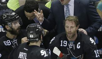 San Jose Sharks head coach Todd McLellan, tops, talks with defenseman Brent Burns (88), center Joe Thornton (19) and center Tomas Hertl (48), from Czech Republic, during the third period of Game 7 of an NHL hockey first-round playoff series against the Los Angeles Kings in San Jose, Calif., Wednesday, April 30, 2014. The Kings won 5-1. (AP Photo)