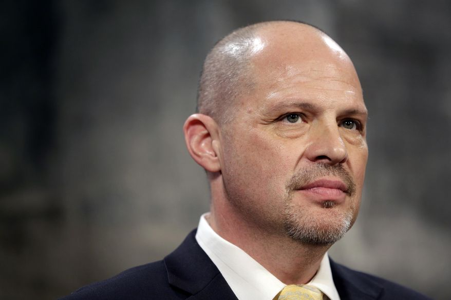 ** FILE ** President of the United Federation of Teachers Michael Mulgrew participates in a news conference at City Hall in New York, Thursday, May 1, 2014. (AP Photo/Seth Wenig)