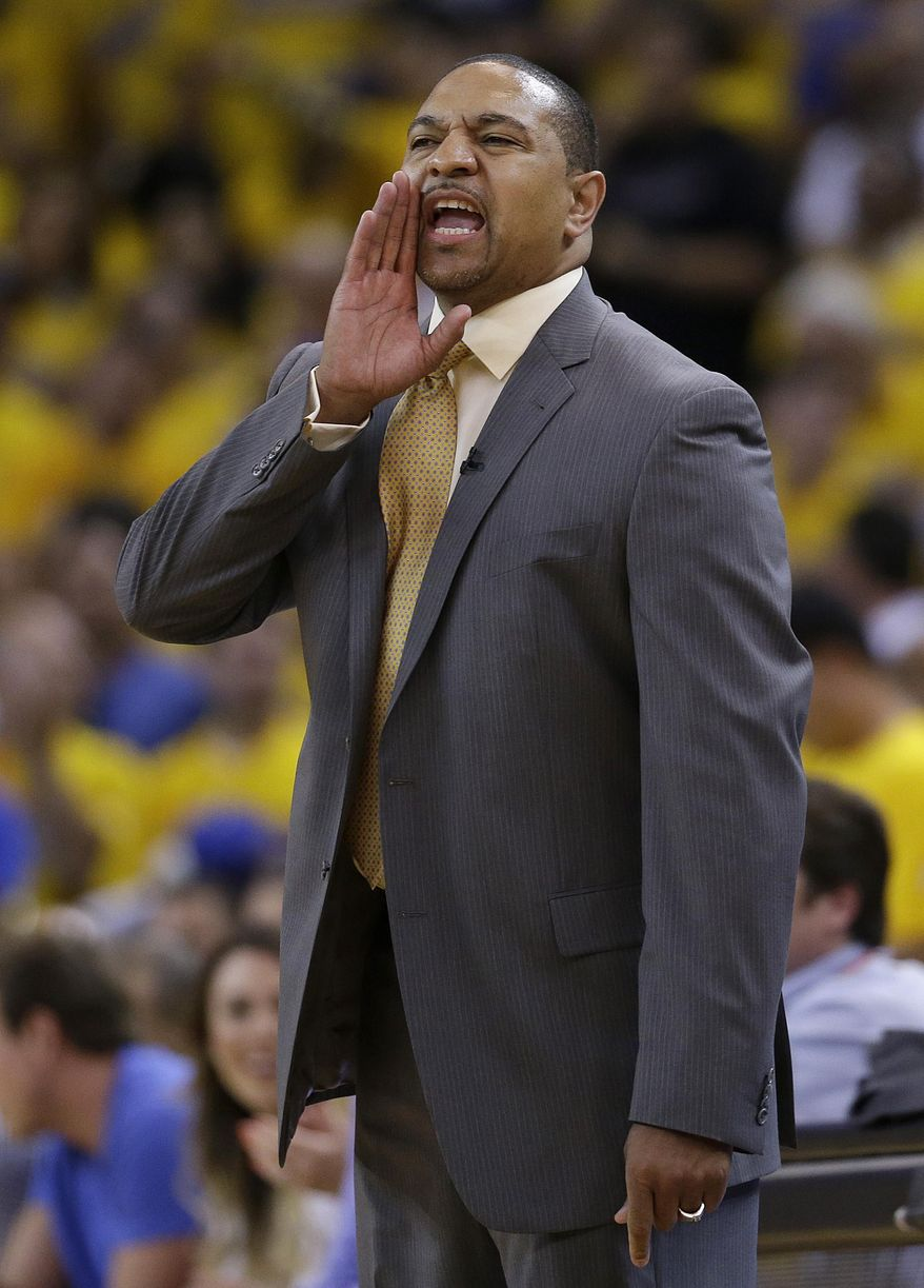 Golden State Warriors head coach Mark Jackson yells from the sideline during the first half of Game 6 of an opening-round NBA basketball playoff series against the Los Angeles Clippers in Oakland, Calif., Thursday, May 1, 2014. (AP Photo/Marcio Jose Sanchez)
