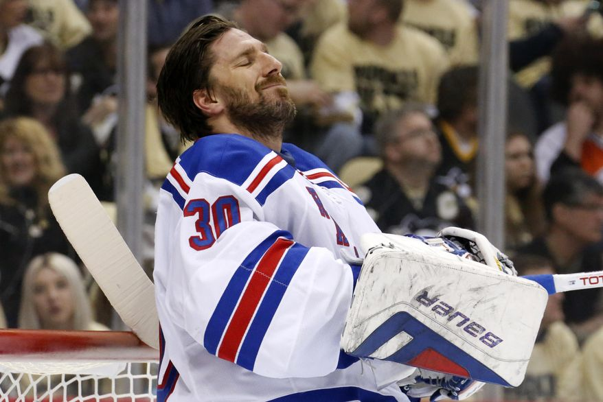New York Rangers goalie Henrik Lundqvist (30) collects himself after allowing a goal to Pittsburgh Penguins' James Neal in the second period of Game 1 of a second-round NHL hockey playoff series in Pittsburgh, Friday, May 2, 2014. (AP Photo/Gene J. Puskar)