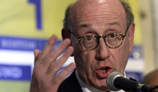 FILE - In this April 23, 2013 file photo, Kenneth Feinberg, an attorney who managed the 9/11 Victim Compensation Fund, speaks during a news conference in Boston. Feinberg, hired by General Motors to settle claims from a deadly ignition switch problem, has started talks about compensating victims' families. (AP Photo/Elise Amendola, File)