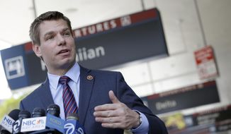Rep. Eric Swalwell D-Calif., holds a news conference at the San Jose International Airport on Friday, May 2, 2014, in San Jose, Calif., in this file photo. (AP Photo/Marcio Jose Sanchez) ** FILE **