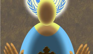 Illustration on the UN vs. the Catholic Church on human rights by Alexander Hunter/The Washington Times