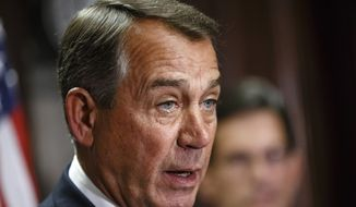 ** FILE ** This April 29, 2014, file photo shows House Speaker John Boehner of Ohio speaking on Capitol Hill in Washington. Boehner says he'll establish select House committee to investigate Benghazi attack.  (AP Photo, File)