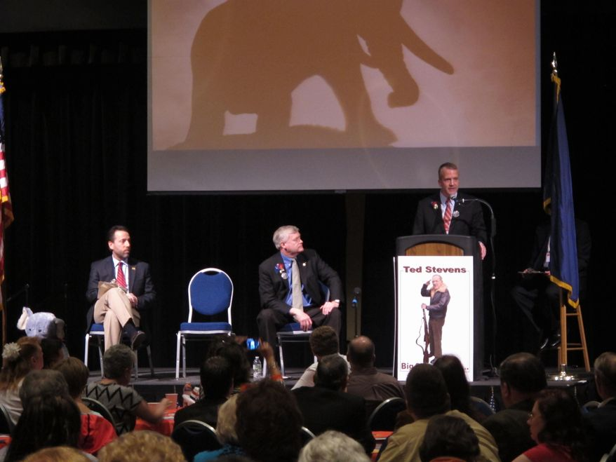 Republican U.S. Senate hopeful Dan Sullivan, standing at podium, delivers his opening remarks during a candidate forum at the state GOP convention on Friday, May 2, 2014, in Juneau, Alaska. Shown, from left, are fellow Republican candidates Joe Miller and Mead Treadwell. (AP Photo/Becky Bohrer)