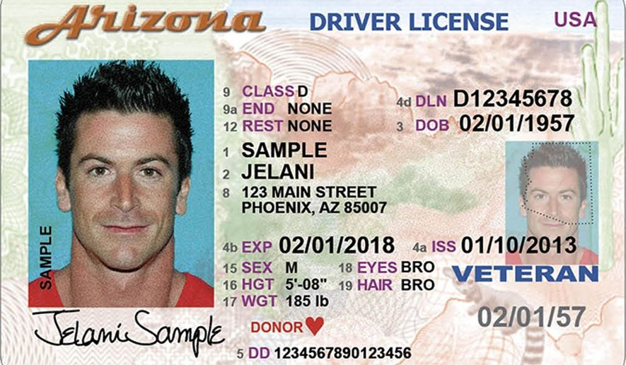 ** FILE ** This photo released Friday, May 2, 2014, by the Arizona Motor Vehicle Division shows its newly designed driver license. (AP Photo/Arizona Motor Vehicle Department)