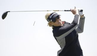 Natalie Gulbis tees off on the ninth hole during the second round of the North Texas LPGA Shootout golf tournament at  the Las Colinas Country Club in Irving, Texas, Friday, May 2, 2014. (AP Photo/LM Otero)