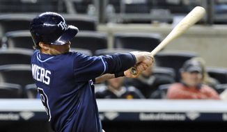 Tampa Bay Rays' Wil Meyers hits an RBI-single during the 14th inning of a baseball game against the New York Yankees Friday, May 2, 2014, at Yankee Stadium in New York. (AP Photo/Bill Kostroun)