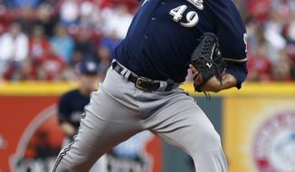 Milwaukee Brewers starting pitcher Yovani Gallardo throws against the Cincinnati Reds during the first inning of a baseball game, Saturday, May 3, 2014, in Cincinnati. (AP Photo/David Kohl)