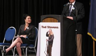 Anchorage, Alaska Mayor Dan Sullivan speaks during a forum for Republican candidates for lieutenant governor at the state GOP convention in Juneau, Alaska on Saturday, May 3, 2014. At left is state Sen. Lesil McGuire of Anchorage. (AP Photo/Becky Bohrer)