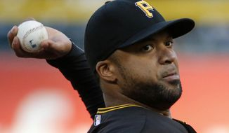 Pittsburgh Pirates' Francisco Liriano delivers during the first inning of a baseball game against the Toronto Blue Jays, Saturday, May 3, 2014, in Pittsburgh. (AP Photo/Gene J. Puskar)