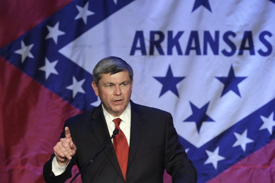 Former Democratic Congressman Mike Ross speaks at a political fund raiser in Little Rock, Ark., Saturday, May 3, 2014. Ross is seeking the Democratic party nomination in the race for Arkansas governor. (AP Photo/Danny Johnston)