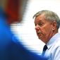 ** FILE ** Sen. Lindsey Graham speaks during a campaign stop at American Legion Post 20 on Wednesday, April 23, 2014, in Greenwood, S.C. (AP Photo/Rainier Ehrhardt)