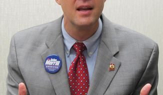 State Rep. John Merrill discusses his GOP campaign for secretary of state during an interview in Montgomery, Ala., on Wednesday, April 30, 2014. Merrill is among three Republicans vying the primary set for June 3. (AP Photo/Phillip Rawls)