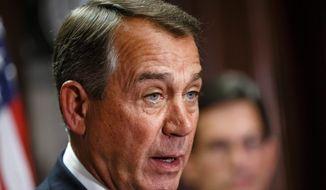 House Speaker John Boehner of Ohio speaking on Capitol Hill in Washington. Boehner says he'll establish select House committee to investigate Benghazi attack.  (AP Photo, File)