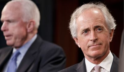 "Sen. Bob Corker, Tennessee Republican, has proposed legislation that would call on President Obama to provide the Ukrainian military with ""direct military assistance."" (associated press)"