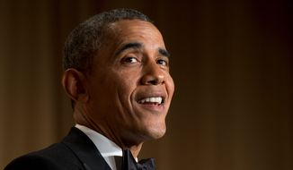 President Barack Obama speaks during the White House Correspondents' Association (WHCA) Dinner at the Washington Hilton Hotel, Saturday, May 3, 2014, in Washington. (AP Photo/Jacquelyn Martin)