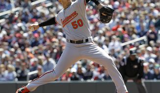 Baltimore Orioles starting pitcher Miguel Gonzalez delivers to the Minnesota Twins during the first inning of a baseball game in Minneapolis, Sunday, May 4, 2014. (AP Photo/Ann Heisenfelt)