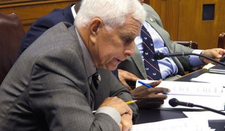 Rep. Rogers Pope, R-Denham Springs, asks questions about the depletion of a state health insurance fund during a meeting of the House Appropriations Committee on Monday, May 5, 2014, in Baton Rouge, La. (AP Photo/Melinda Deslatte)