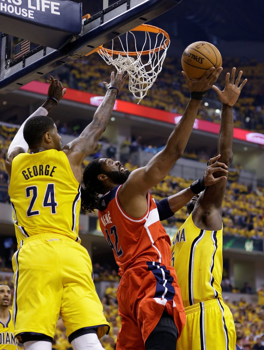 Nene and the Wizards grabbed homecourt advantage with a 102-96 win over the Pacers on Monday in Indianapolis. (associated press)