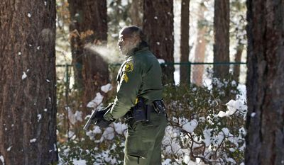 FILE - In this Feb. 10, 2013 file photo, San Bernardino County Sheriff's Deputy Ken Owens searches a home for renegade former Los Angeles police officer Christopher Dorner in Big Bear Lake, Calif. A report released Monday, May 5, 2014 says that communication and coordination problems between six law enforcement agencies hampered the police response as cop-turned-killer Dorner went on a 10-day rampage across Southern California last year. (AP Photo/Jae C. Hong, File)