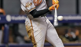 Baltimore Orioles' Adam Jones connects for an RBI sacrifice fly off Tampa Bay Rays starting pitcher Chris Archer during the fifth inning of a baseball game Tuesday, May 6, 2014, in St. Petersburg, Fla. Orioles' Ryan Flaherty scored on the play. (AP Photo/Chris O'Meara)