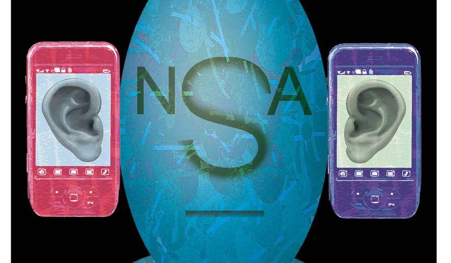Illustration on NSA phone surveillance by Alexander Hunter/The Washington Times