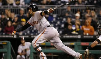 San Francisco Giants' Hector Sanchez drives in teammate Buster Posey with a single off Pittsburgh Pirates relief pitcher Tony Watson during the seventh inning of a baseball game in Pittsburgh Monday, May 5, 2014. (AP Photo/Gene J. Puskar)