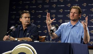 St. Louis Rams head coach Jeff Fisher, left, and general manager Les Snead hold a pre-draft news conference at the team's practice facility, Tuesday, May 6, 2014, in St. Louis. The Rams are scheduled to have two picks in the first-round of the NFL football draft on Thursday. (AP Photo/Jeff Roberson)