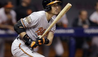 Baltimore Orioles' Ryan Flaherty follows the flight of his RBI single off Tampa Bay Rays relief pitcher Joel Peralta during the eighth inning of a baseball game Tuesday, May 6, 2014, in St. Petersburg, Fla. Orioles Matt Wieters scored on the play. (AP Photo/Chris O'Meara)