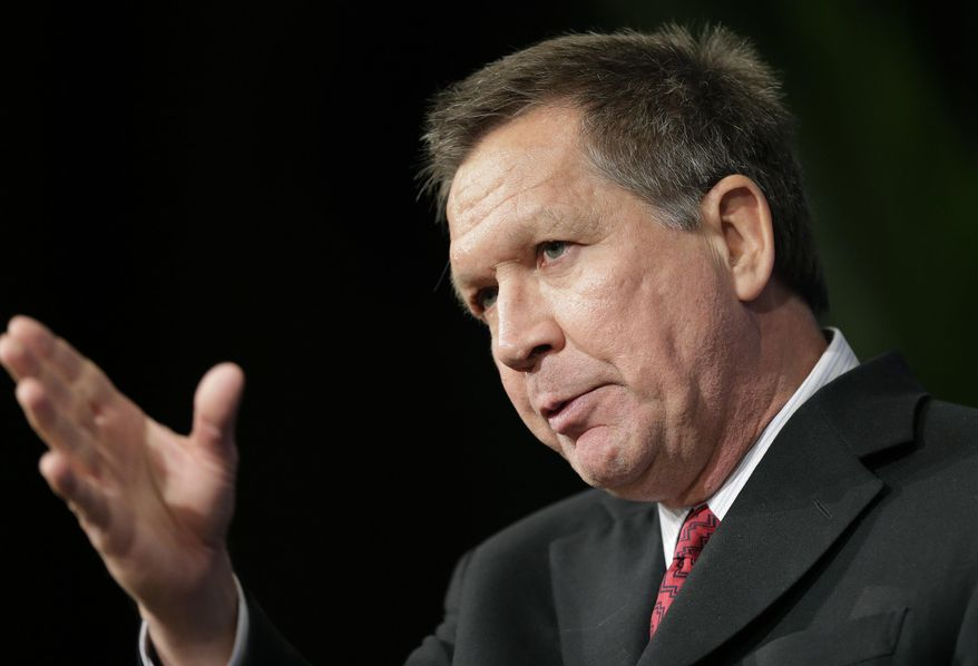 ** FILE ** This March 29, 2014, file photo shows Ohio Gov. John Kasich speaking at the Republican Jewish Coalition in Las Vegas. (AP Photo/Julie Jacobson, File)